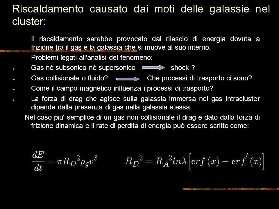 Riscaldamento causato dai moti delle galassie nel cluster: Il riscaldamento sarebbe provocato dal rilascio di energia dovuta a frizione tra il gas e la galassia che si muove al suo interno.