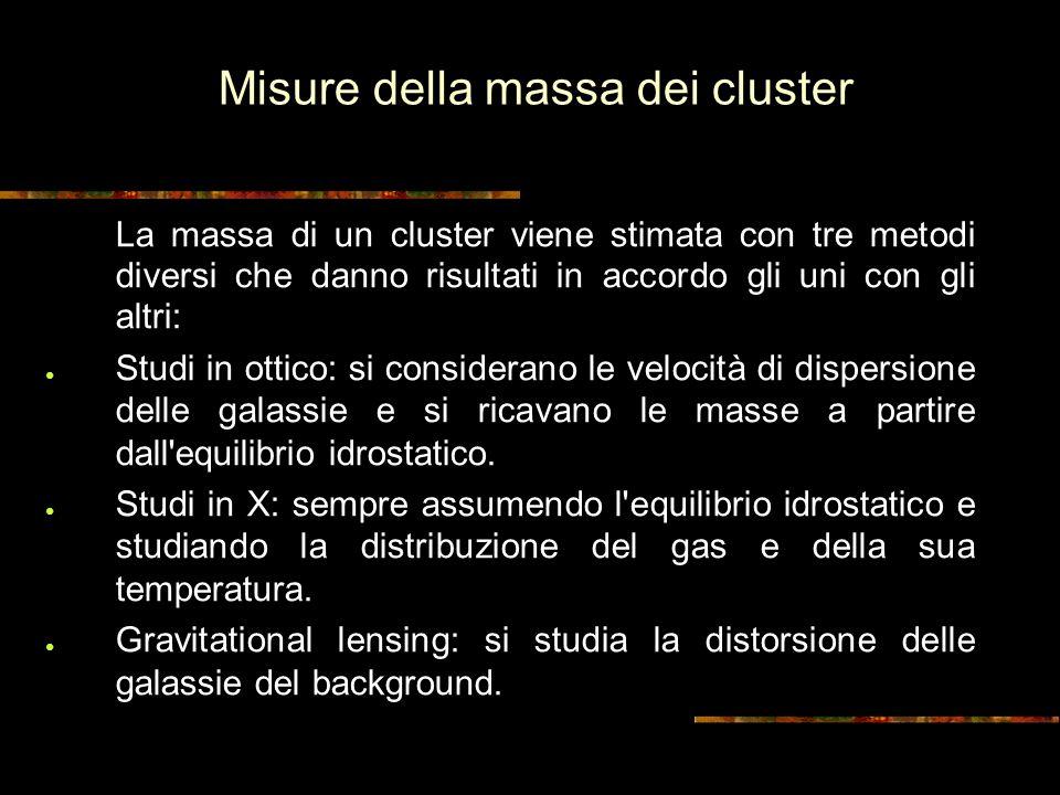 Misure della massa dei cluster La massa di un cluster viene stimata con tre metodi diversi che danno risultati in accordo gli uni con gli altri: Studi in ottico: si considerano le velocità di dispersione delle galassie e si ricavano le masse a partire dall equilibrio idrostatico.