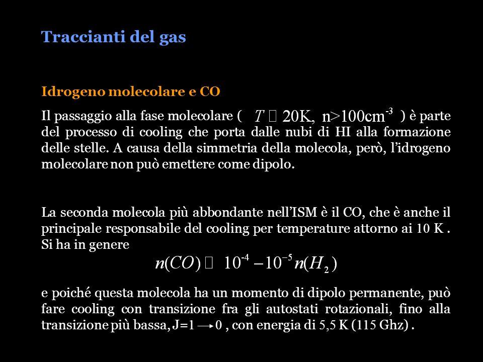 Traccianti del gas Idrogeno molecolare e CO Il passaggio alla fase molecolare ( ) è parte del processo di cooling che porta dalle nubi di HI alla form