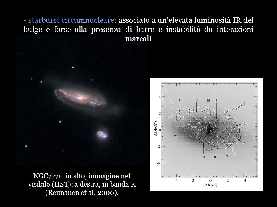 - starburst circumnucleare: associato a unelevata luminosità IR del bulge e forse alla presenza di barre e instabilità da interazioni mareali NGC7771: