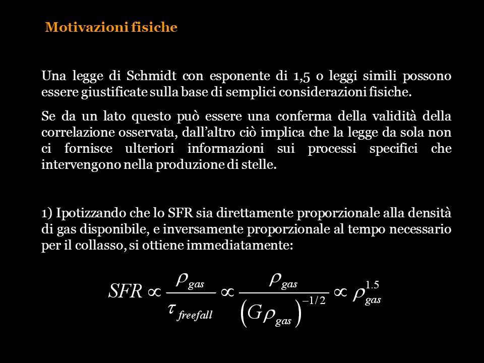 Motivazioni fisiche Una legge di Schmidt con esponente di 1,5 o leggi simili possono essere giustificate sulla base di semplici considerazioni fisiche