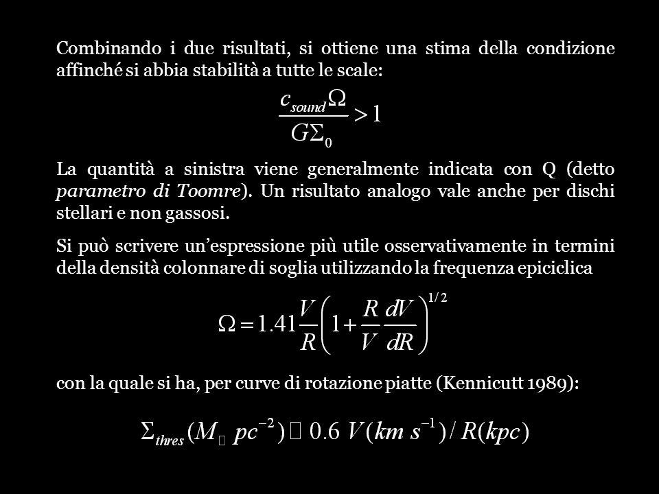 Combinando i due risultati, si ottiene una stima della condizione affinché si abbia stabilità a tutte le scale: La quantità a sinistra viene generalme