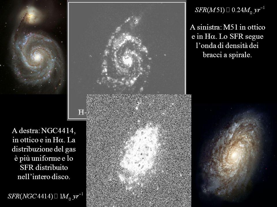 A sinistra: M51 in ottico e in H. Lo SFR segue londa di densità dei bracci a spirale. A destra: NGC4414, in ottico e in H. La distribuzione del gas è