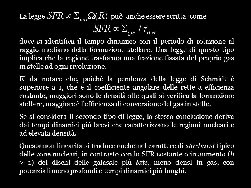 La legge può anche essere scritta come dove si identifica il tempo dinamico con il periodo di rotazione al raggio mediano della formazione stellare. U