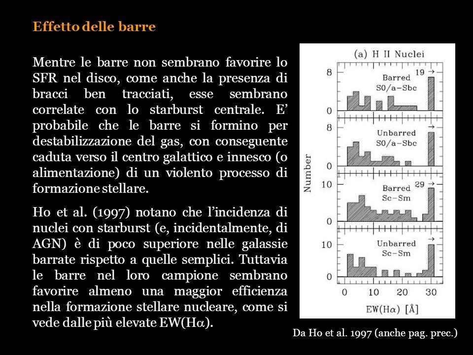 Effetto delle barre Mentre le barre non sembrano favorire lo SFR nel disco, come anche la presenza di bracci ben tracciati, esse sembrano correlate co