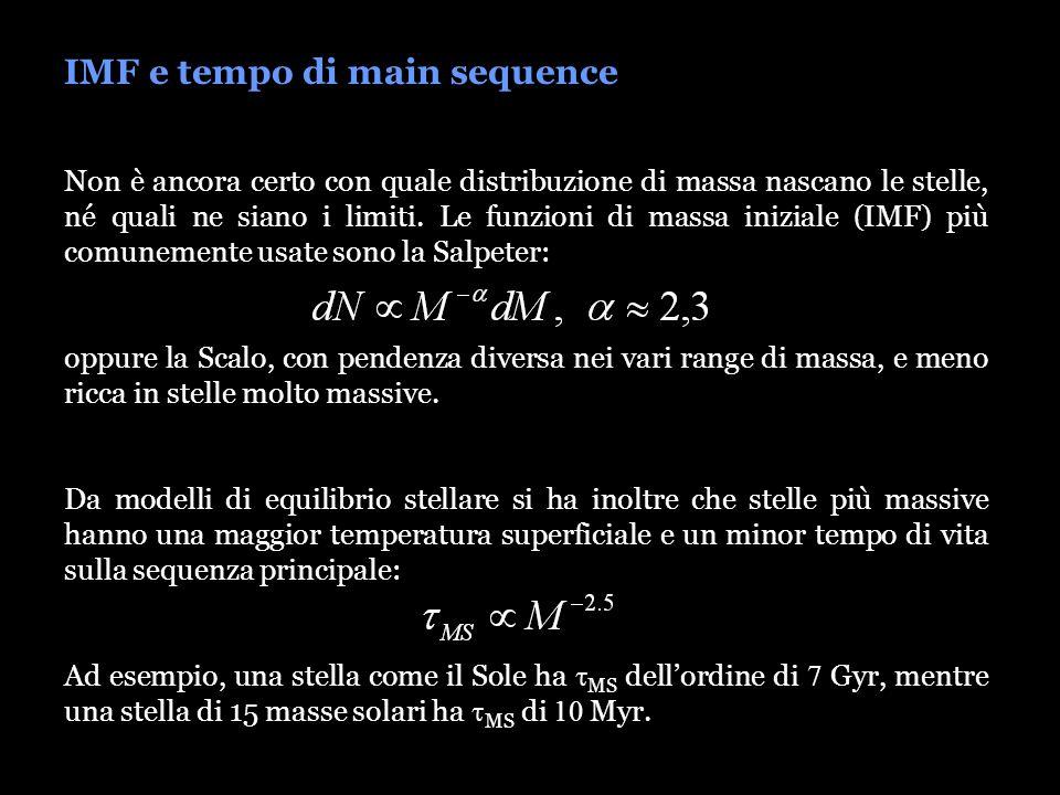IMF e tempo di main sequence Non è ancora certo con quale distribuzione di massa nascano le stelle, né quali ne siano i limiti. Le funzioni di massa i