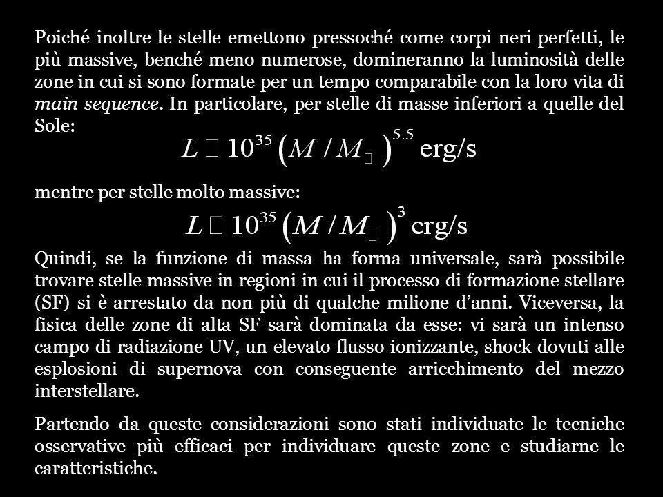 Allinterno delle galassie a spirale si individuano due diverse regioni in cui è possibile trovare un elevato SFR, in associazione a condizioni diverse: - formazione stellare nel disco: la produzione di stelle si innesca allinterno dei bracci a spirale, oppure la formazione dei bracci avviene per gli stessi meccanismi di instabilità dinamica che favoriscono la star formation M51: in alto immagine ottica, a destra in banda H (rosso) e H (verde).