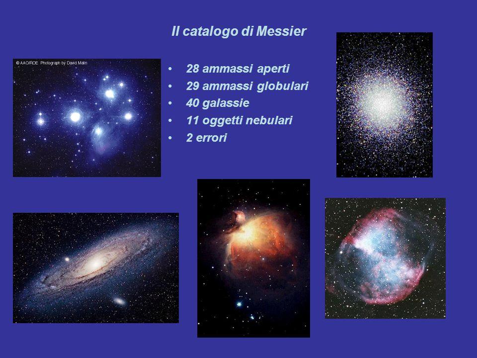 Il catalogo di Messier 28 ammassi aperti 29 ammassi globulari 40 galassie 11 oggetti nebulari 2 errori
