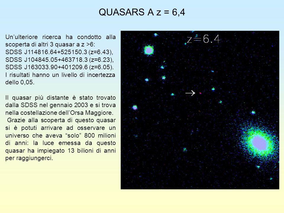 QUASARS A z = 6,4 Unulteriore ricerca ha condotto alla scoperta di altri 3 quasar a z >6: SDSS J114816.64+525150.3 (z=6.43), SDSS J104845.05+463718.3