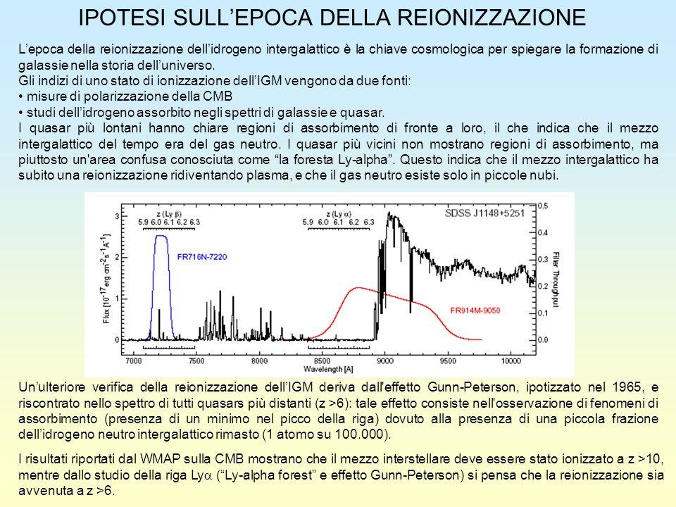 IPOTESI SULLEPOCA DELLA REIONIZZAZIONE Lepoca della reionizzazione dellidrogeno intergalattico è la chiave cosmologica per spiegare la formazione di g