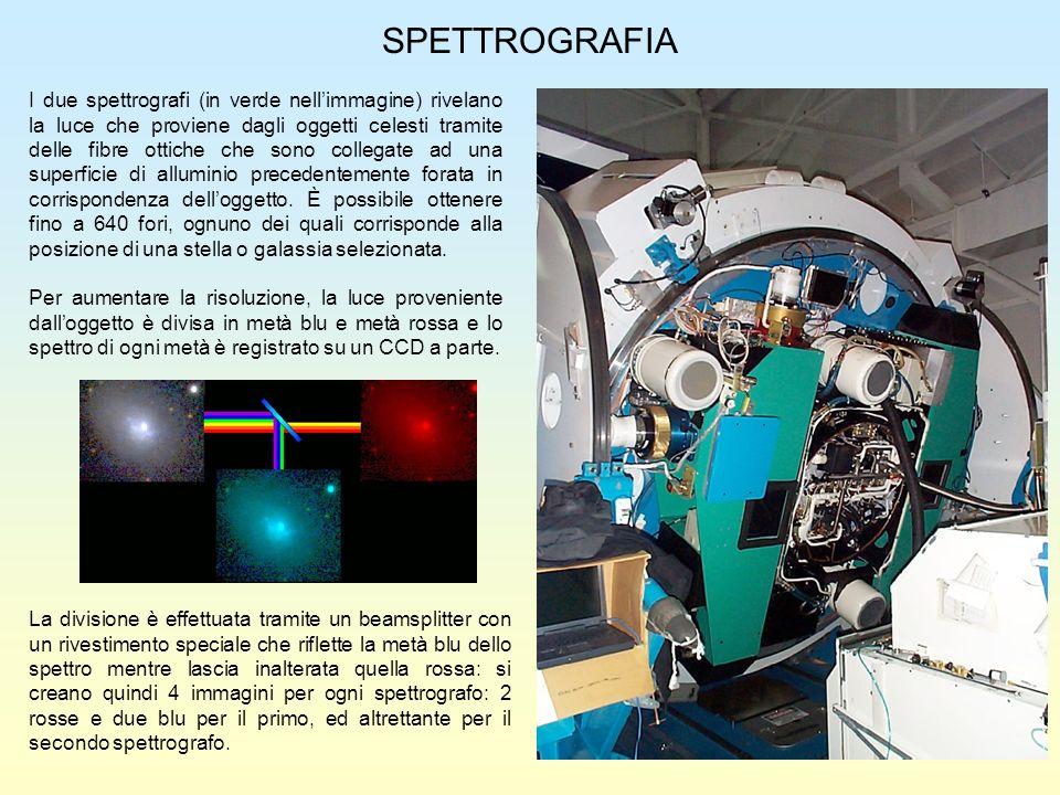 SPETTROGRAFIA I due spettrografi (in verde nellimmagine) rivelano la luce che proviene dagli oggetti celesti tramite delle fibre ottiche che sono coll