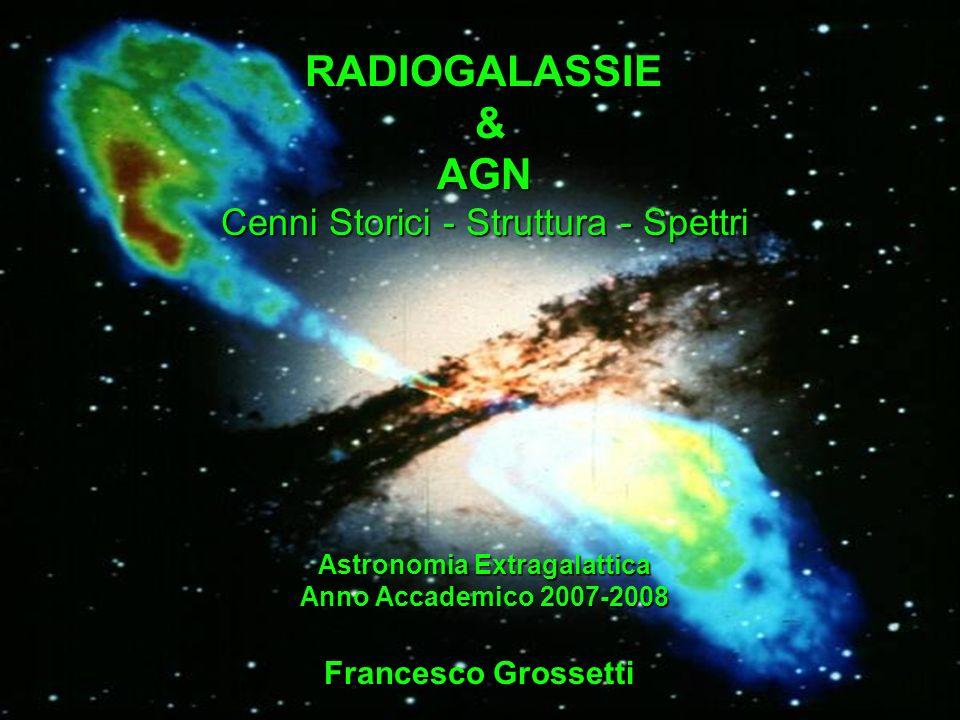 RADIOGALASSIE & AGN Cenni Storici - Struttura - Spettri Francesco Grossetti Astronomia Extragalattica Anno Accademico 2007-2008