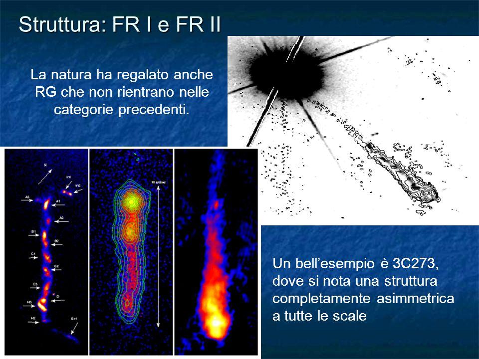 Struttura: FR I e FR II La natura ha regalato anche RG che non rientrano nelle categorie precedenti. Un bellesempio è 3C273, dove si nota una struttur
