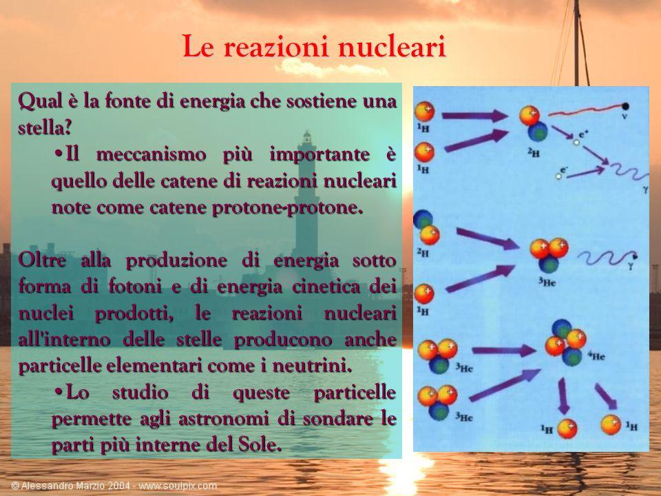 Le reazioni nucleari Qual è la fonte di energia che sostiene una stella? Il meccanismo più importante è quello delle catene di reazioni nucleari note