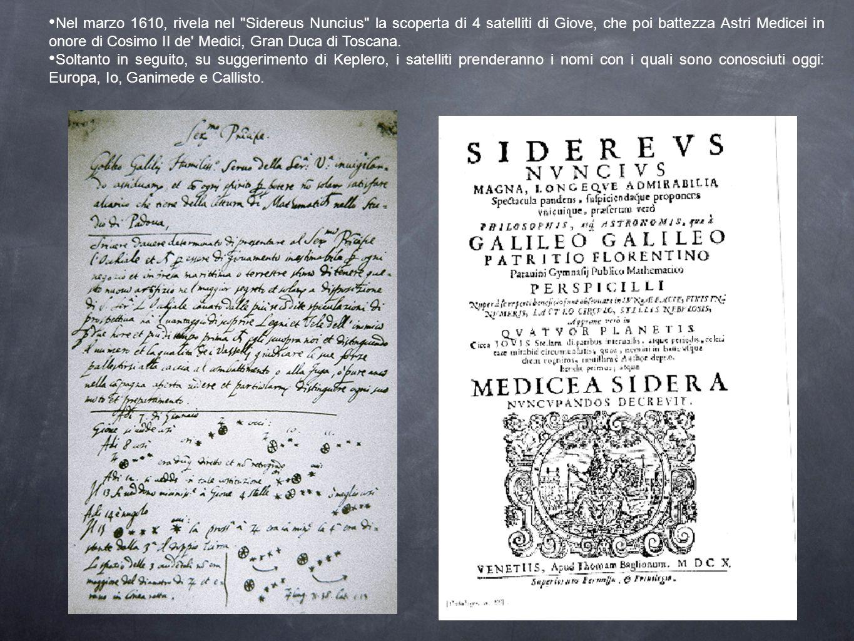 Nel marzo 1610, rivela nel