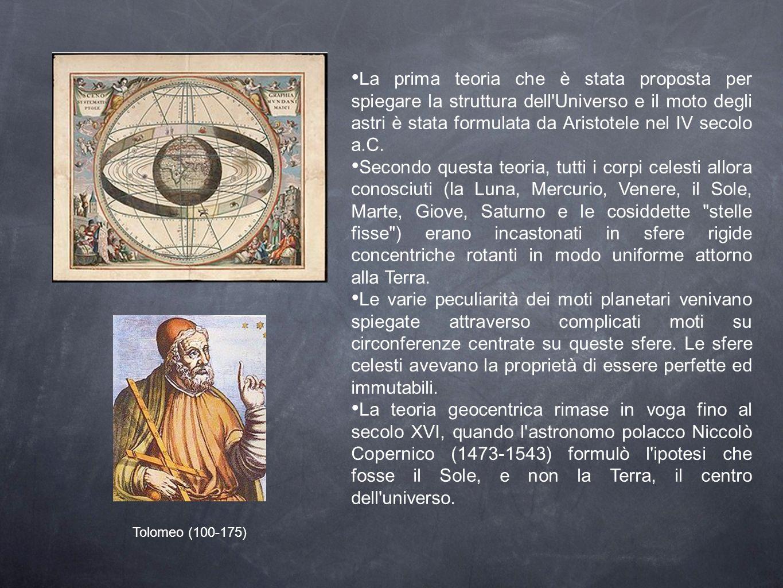 La prima teoria che è stata proposta per spiegare la struttura dell'Universo e il moto degli astri è stata formulata da Aristotele nel IV secolo a.C.