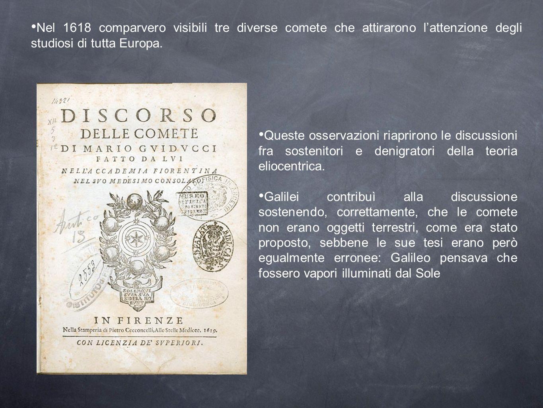 Nel 1618 comparvero visibili tre diverse comete che attirarono lattenzione degli studiosi di tutta Europa. Queste osservazioni riaprirono le discussio