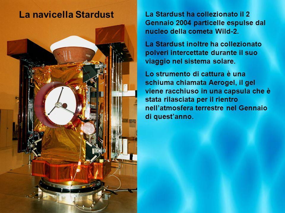 La Stardust ha collezionato il 2 Gennaio 2004 particelle espulse dal nucleo della cometa Wild-2. La Stardust inoltre ha collezionato polveri intercett