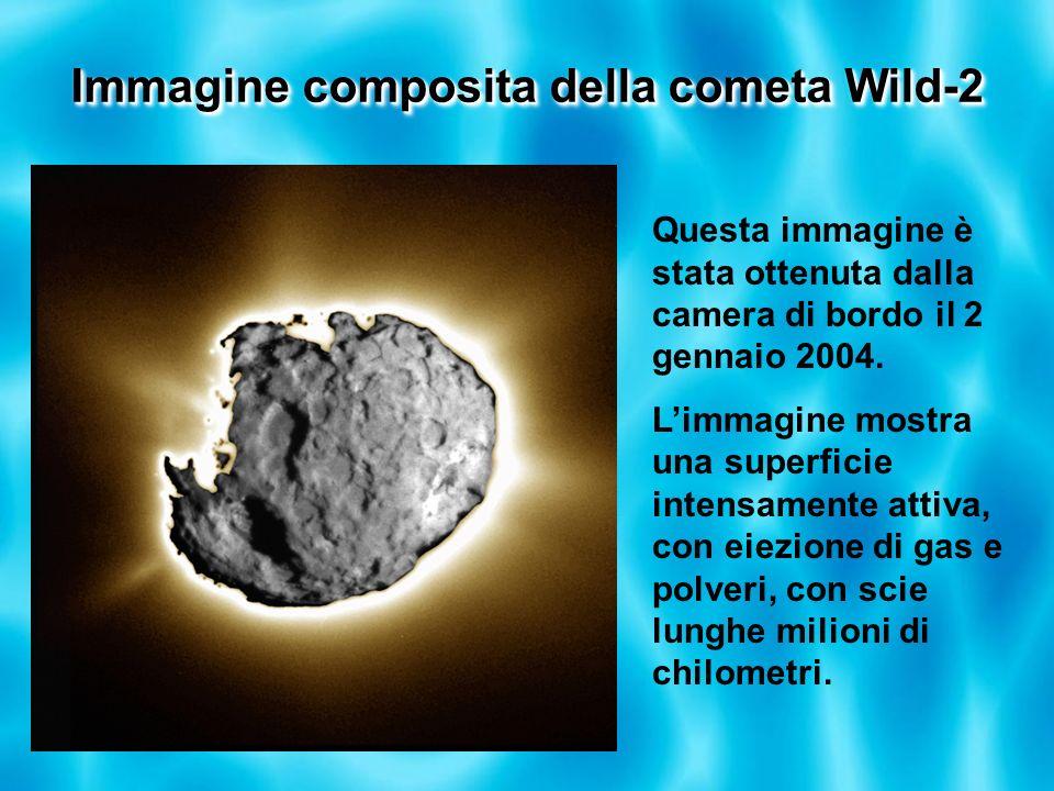 Immagine composita della cometa Wild-2 Questa immagine è stata ottenuta dalla camera di bordo il 2 gennaio 2004. Limmagine mostra una superficie inten
