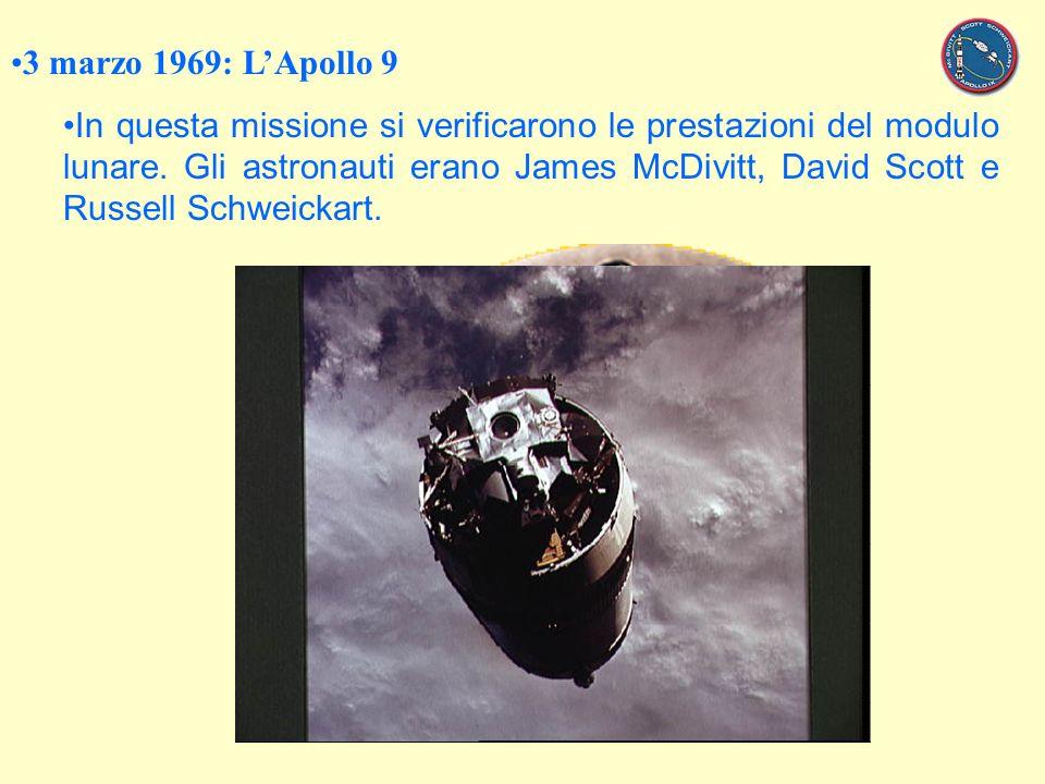 3 marzo 1969: LApollo 9 In questa missione si verificarono le prestazioni del modulo lunare.