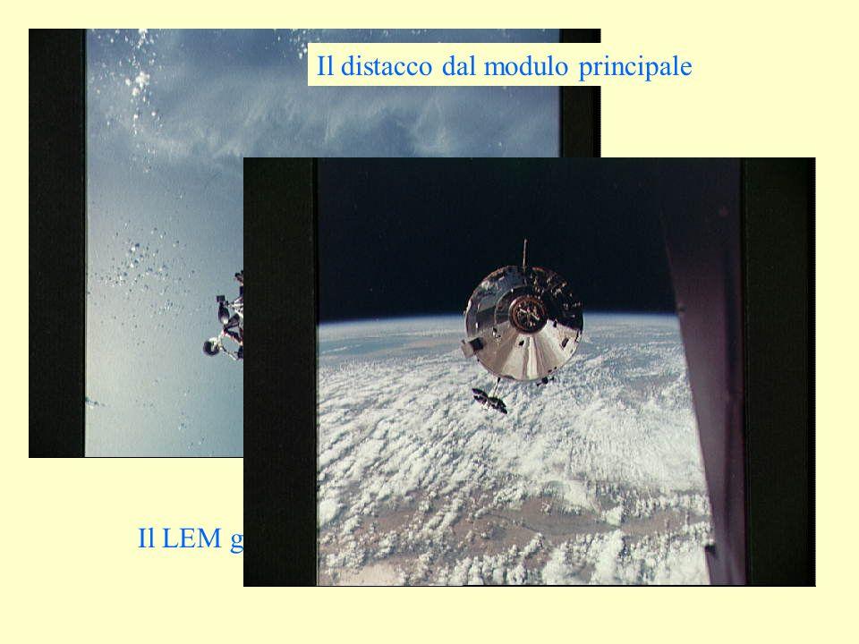 Il LEM galleggiante sopra la Terra... Il distacco dal modulo principale