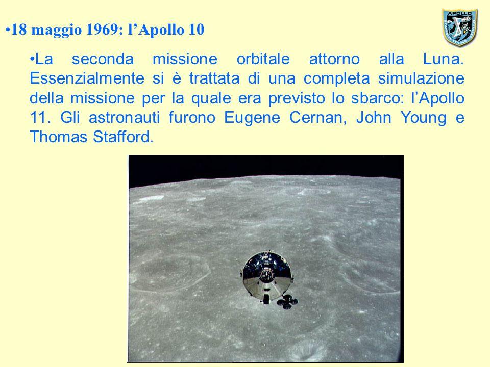 18 maggio 1969: lApollo 10 La seconda missione orbitale attorno alla Luna.
