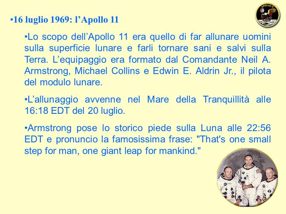 16 luglio 1969: lApollo 11 Lo scopo dellApollo 11 era quello di far allunare uomini sulla superficie lunare e farli tornare sani e salvi sulla Terra.