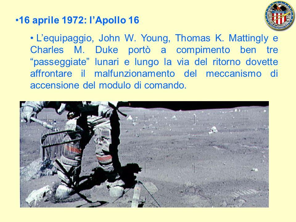 16 aprile 1972: lApollo 16 Lequipaggio, John W.Young, Thomas K.