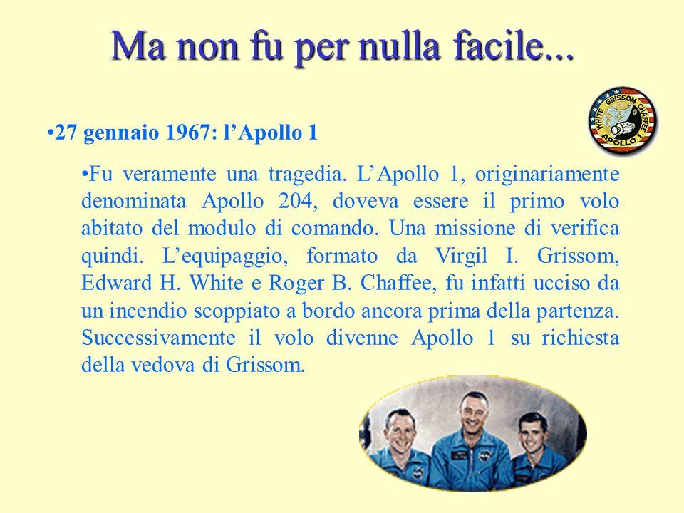 Ma non fu per nulla facile... 27 gennaio 1967: lApollo 1 Fu veramente una tragedia.
