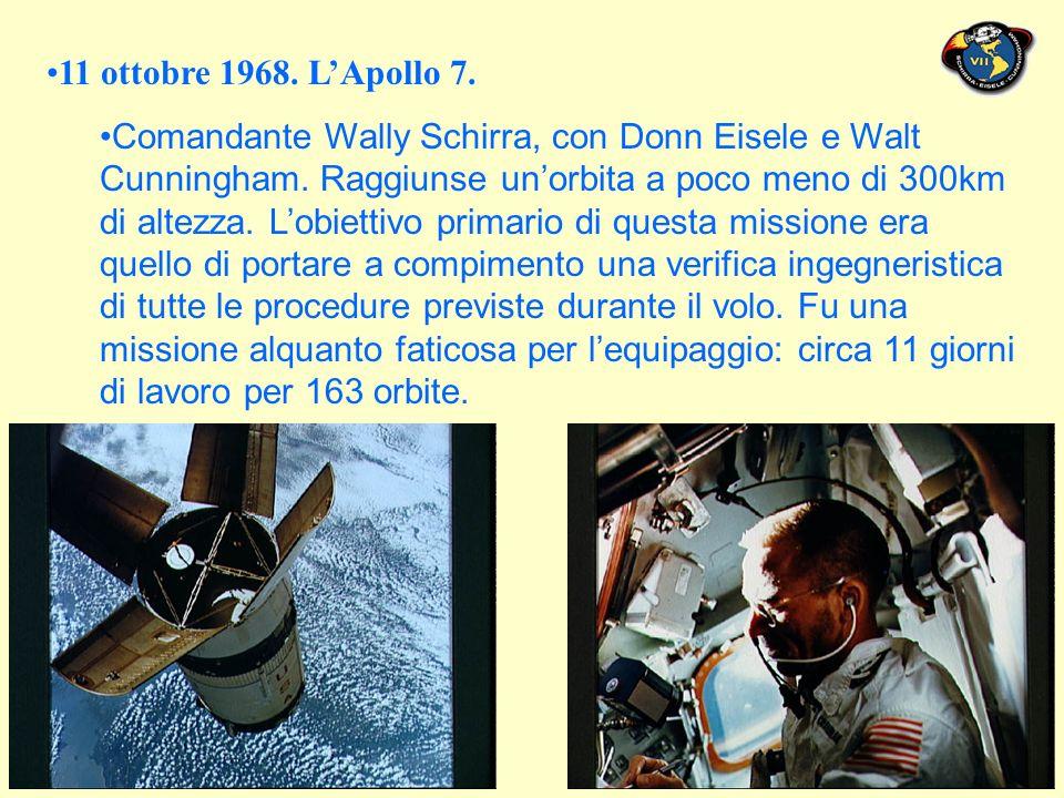 11 ottobre 1968. LApollo 7. Comandante Wally Schirra, con Donn Eisele e Walt Cunningham.