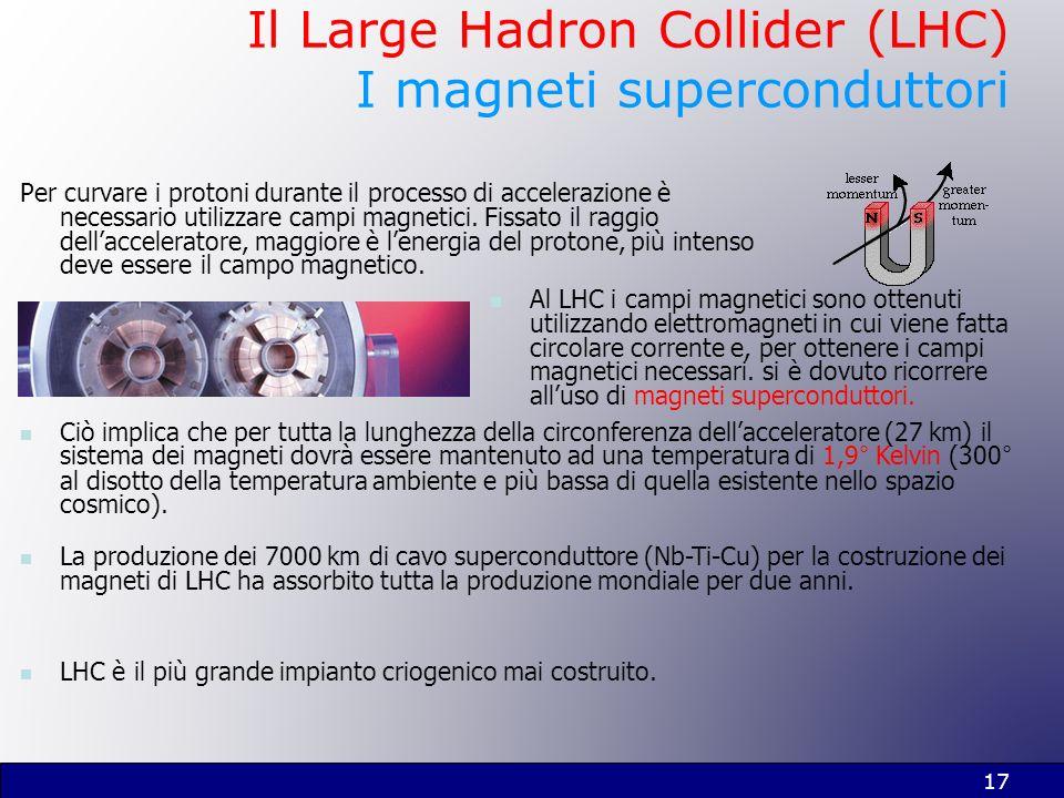 17 Il Large Hadron Collider (LHC) I magneti superconduttori Per curvare i protoni durante il processo di accelerazione è necessario utilizzare campi m