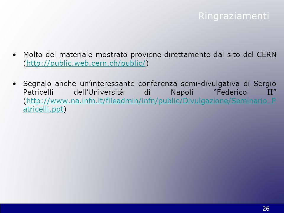 Ringraziamenti Molto del materiale mostrato proviene direttamente dal sito del CERN (http://public.web.cern.ch/public/)http://public.web.cern.ch/publi