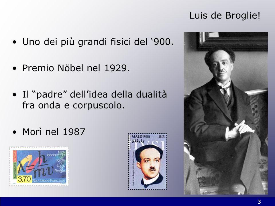 Luis de Broglie! Uno dei più grandi fisici del 900. Premio Nöbel nel 1929. Il padre dellidea della dualità fra onda e corpuscolo. Morì nel 1987 3