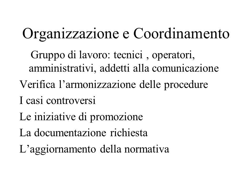 Organizzazione e Coordinamento Gruppo di lavoro: tecnici, operatori, amministrativi, addetti alla comunicazione Verifica larmonizzazione delle procedu