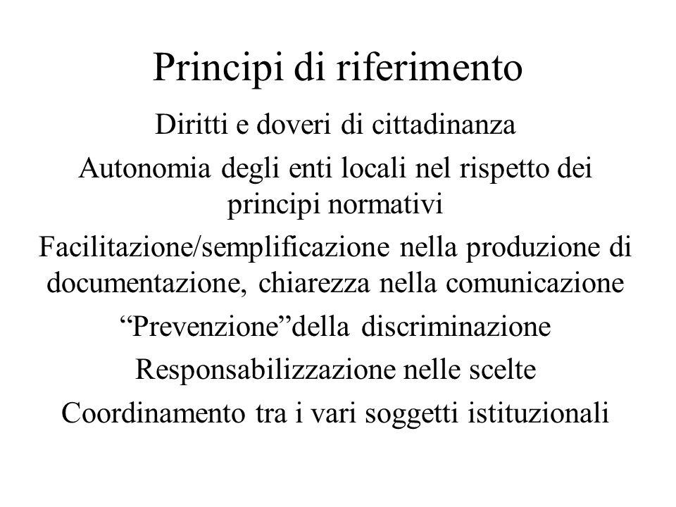 Principi di riferimento Diritti e doveri di cittadinanza Autonomia degli enti locali nel rispetto dei principi normativi Facilitazione/semplificazione