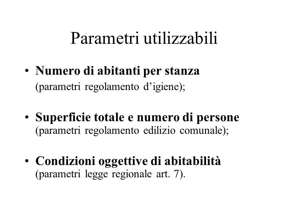 Parametri utilizzabili Numero di abitanti per stanza (parametri regolamento digiene); Superficie totale e numero di persone (parametri regolamento edi