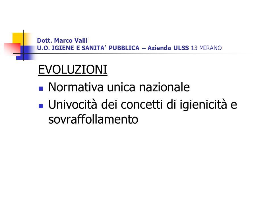 Dott. Marco Valli U.O. IGIENE E SANITA PUBBLICA – Azienda ULSS 13 MIRANO EVOLUZIONI Normativa unica nazionale Univocità dei concetti di igienicità e s