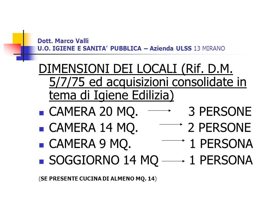 Dott. Marco Valli U.O. IGIENE E SANITA PUBBLICA – Azienda ULSS 13 MIRANO DIMENSIONI DEI LOCALI (Rif. D.M. 5/7/75 ed acquisizioni consolidate in tema d