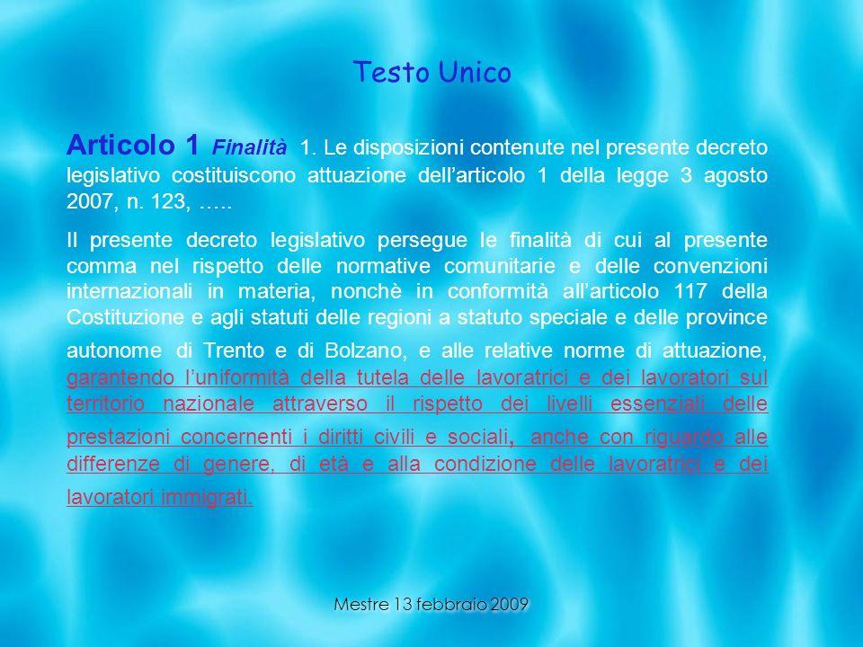 Mestre 13 febbraio 2009 Testo Unico Articolo 1 Finalità 1. Le disposizioni contenute nel presente decreto legislativo costituiscono attuazione dellart
