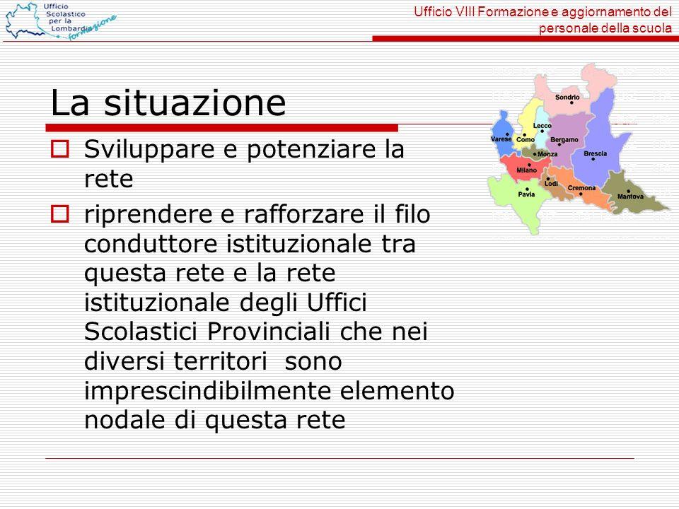 Ufficio VIII Formazione e aggiornamento del personale della scuola La situazione Sviluppare e potenziare la rete riprendere e rafforzare il filo condu