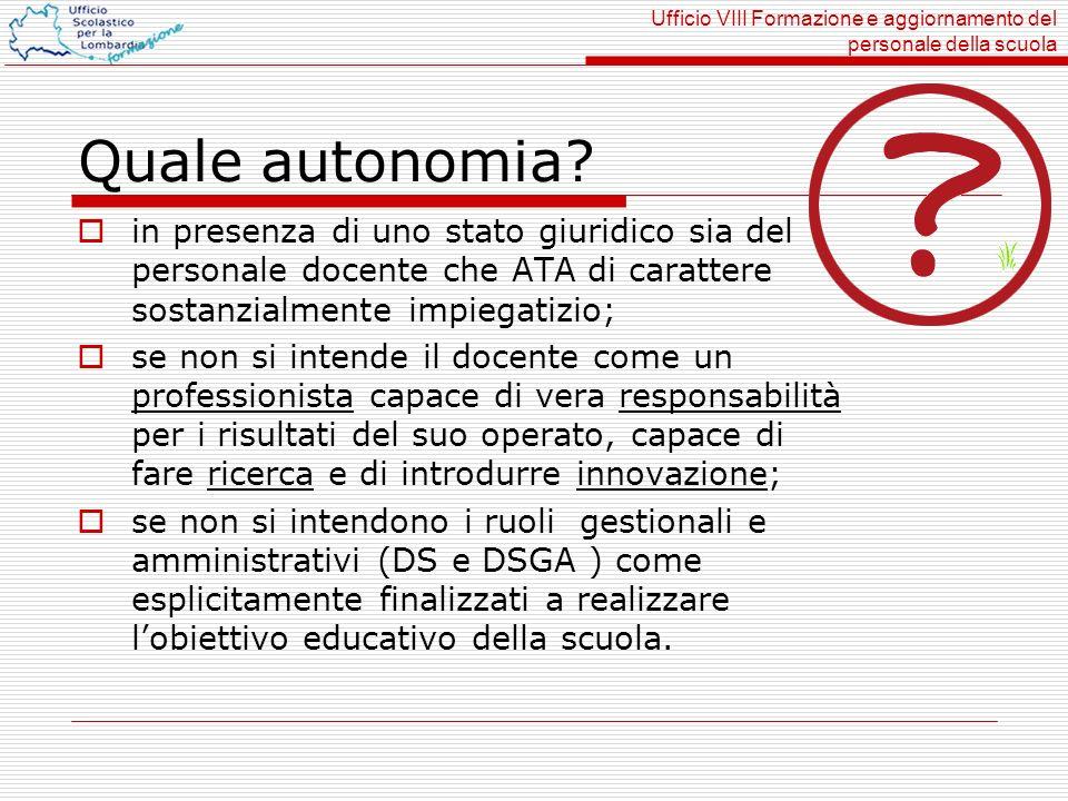 Ufficio VIII Formazione e aggiornamento del personale della scuola Quale autonomia.