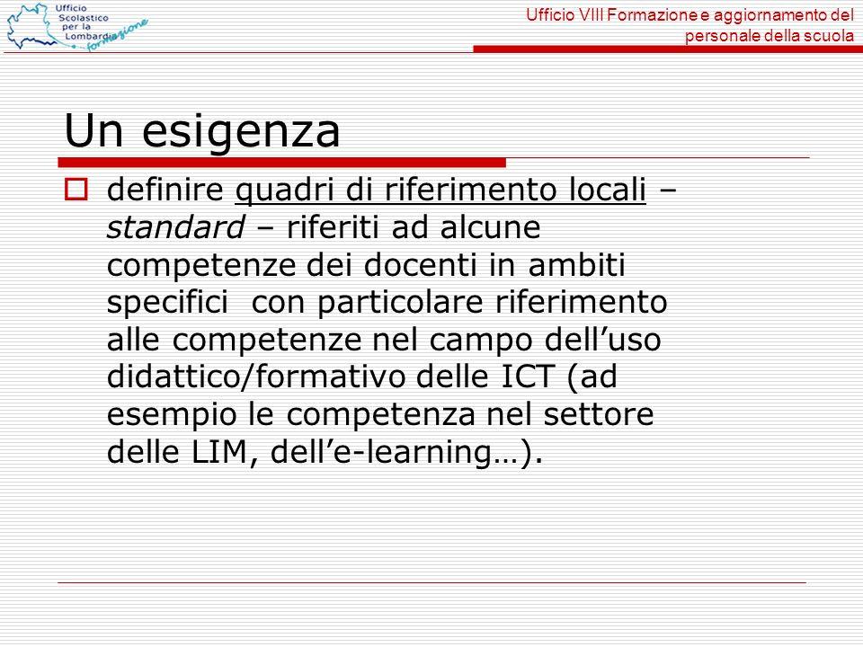 Ufficio VIII Formazione e aggiornamento del personale della scuola Un esigenza definire quadri di riferimento locali – standard – riferiti ad alcune c