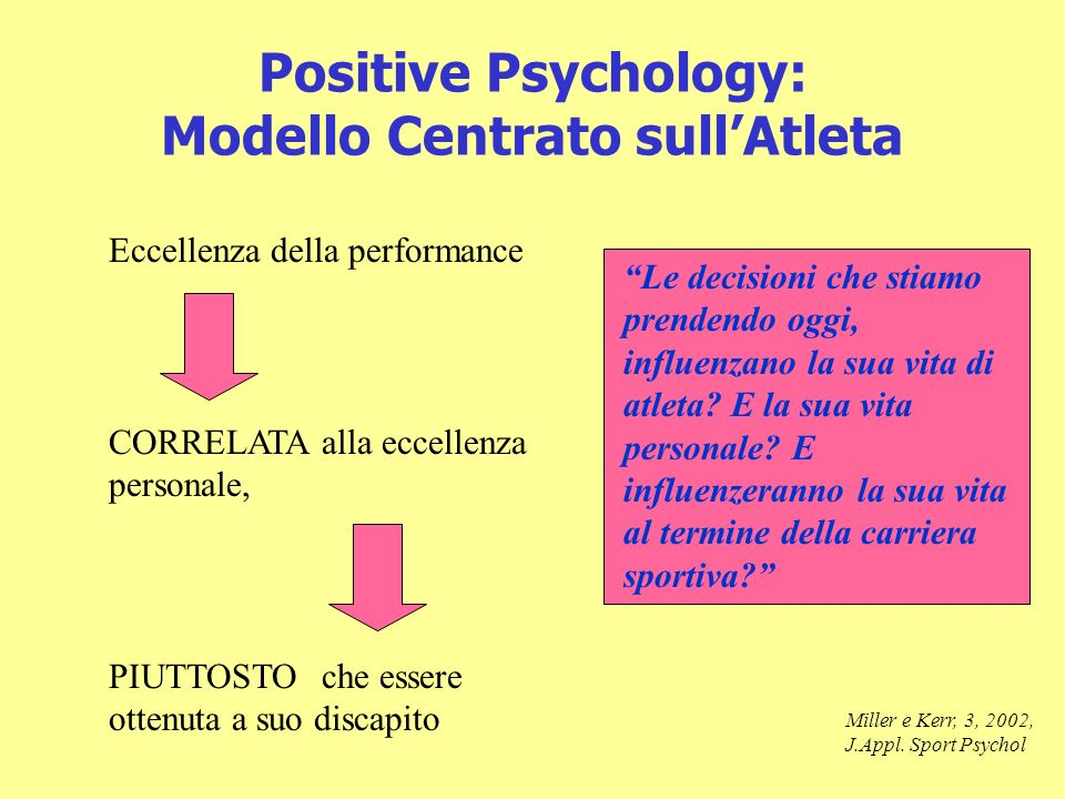 Positive Psychology: Modello Centrato sullAtleta Eccellenza della performance CORRELATA alla eccellenza personale, PIUTTOSTOche essere ottenuta a suo discapito Miller e Kerr, 3, 2002, J.Appl.