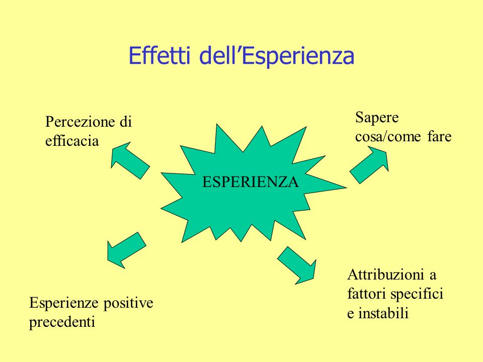 Effetti dellEsperienza ESPERIENZA Sapere cosa/come fare Esperienze positive precedenti Attribuzioni a fattori specifici e instabili Percezione di efficacia