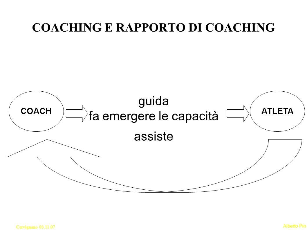 Alberto Pin Cervignano 03.11.07 guida fa emergere le capacità assiste COACHING E RAPPORTO DI COACHING COACHATLETA