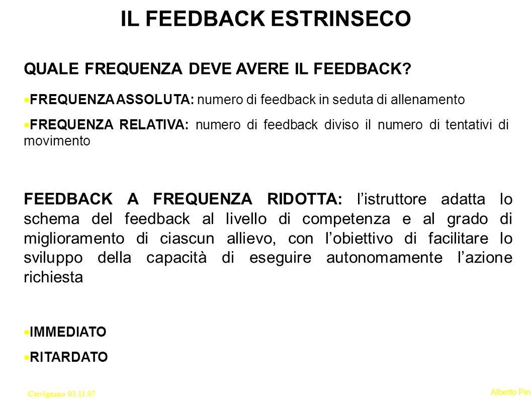 Alberto Pin Cervignano 03.11.07 IL FEEDBACK ESTRINSECO QUALE FREQUENZA DEVE AVERE IL FEEDBACK.