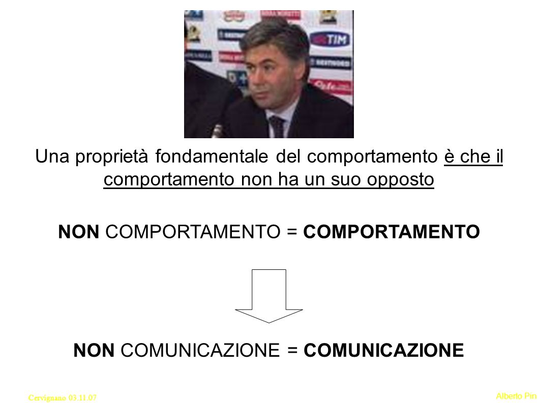 Alberto Pin Cervignano 03.11.07 Una proprietà fondamentale del comportamento è che il comportamento non ha un suo opposto NON COMPORTAMENTO = COMPORTAMENTO NON COMUNICAZIONE = COMUNICAZIONE