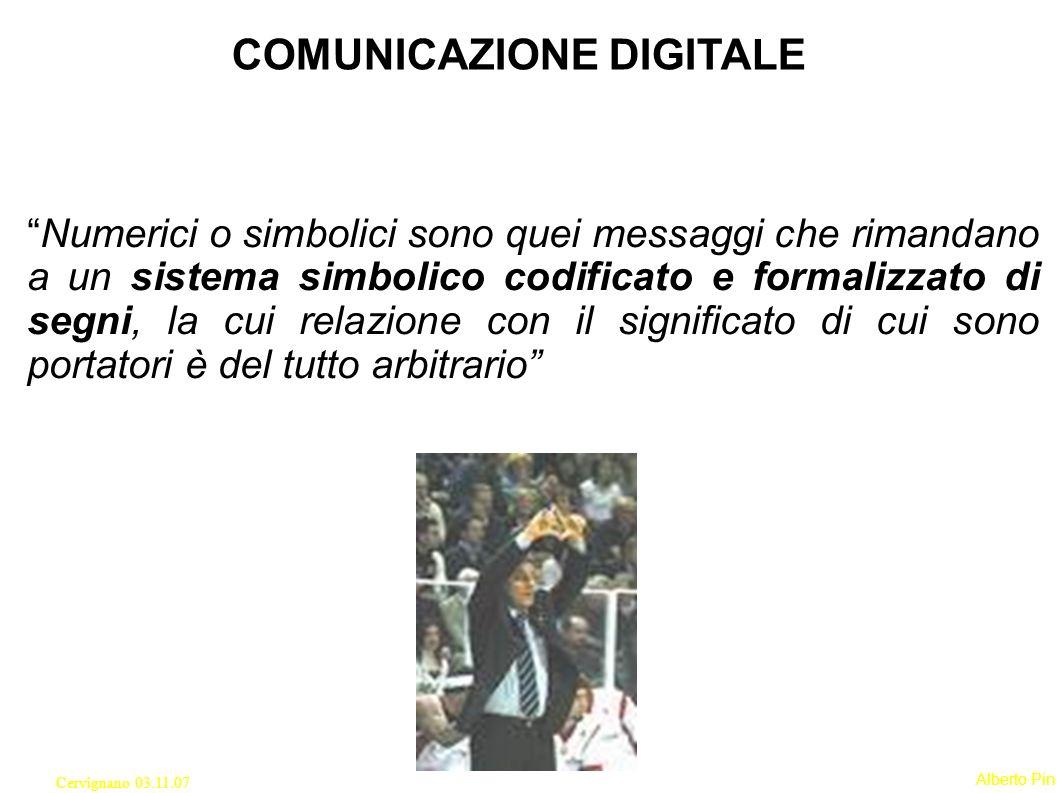 Alberto Pin Cervignano 03.11.07 Numerici o simbolici sono quei messaggi che rimandano a un sistema simbolico codificato e formalizzato di segni, la cui relazione con il significato di cui sono portatori è del tutto arbitrario COMUNICAZIONE DIGITALE