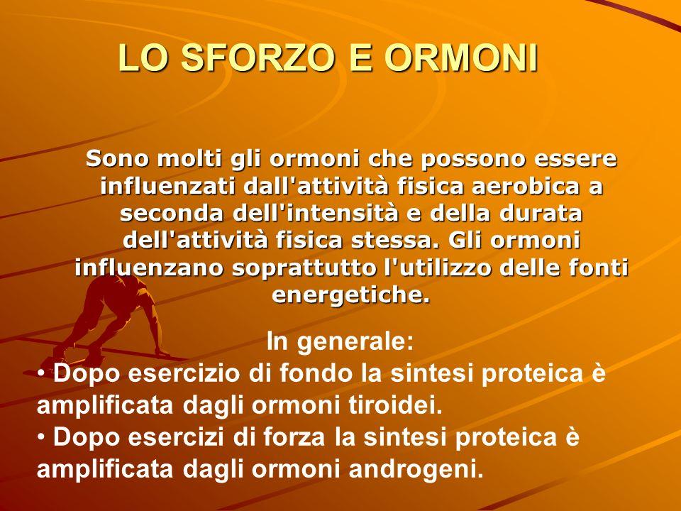 Sono molti gli ormoni che possono essere influenzati dall'attività fisica aerobica a seconda dell'intensità e della durata dell'attività fisica stessa