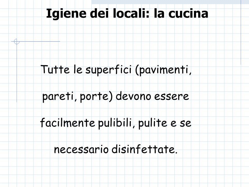 Igiene dei locali: la cucina Tutte le superfici (pavimenti, pareti, porte) devono essere facilmente pulibili, pulite e se necessario disinfettate.
